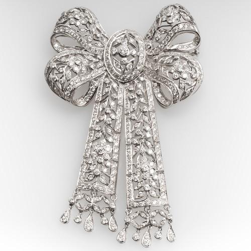 Large Diamond Ribbon Brooch Pin Floral 18K White Gold 4.3CTW