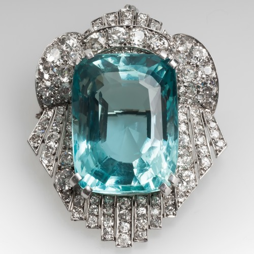 Magnificent Art Deco Pendant Brooch 37CT Aquamarine & Diamonds