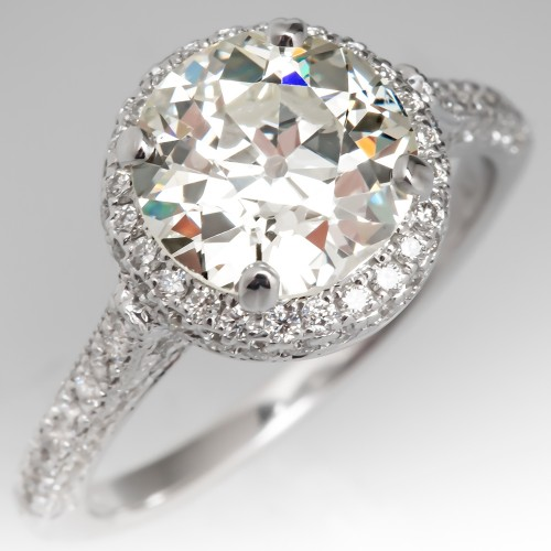 Heirloom 2.5 Carat old European Cut Diamond Halo Engagement Ring
