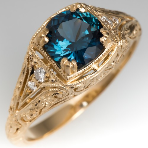 No Heat Blue-Green Sapphire Filigree Engagement Ring 14K