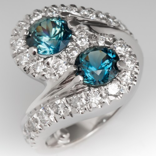 Vivid Blue-Green Sapphire Bypass Style Cocktail Ring w/ Diamonds