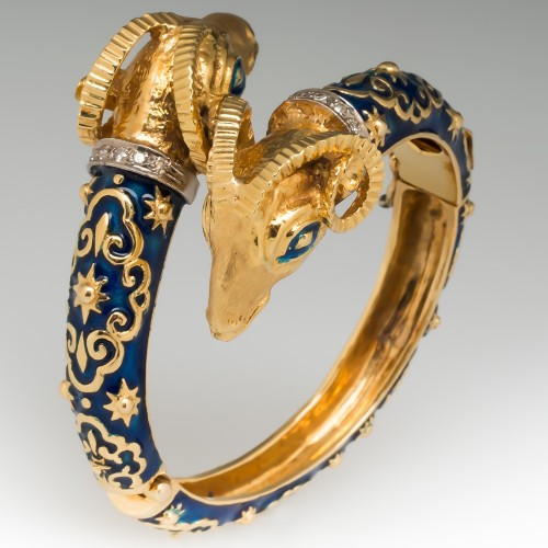 Estate Jewelry Ram Head Bracelet Blue Enamel 18K Gold