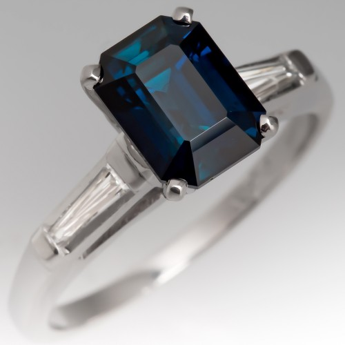 Emerald Cut Teal Sapphire Engagement Ring w/ Tapered Baguette Diamonds