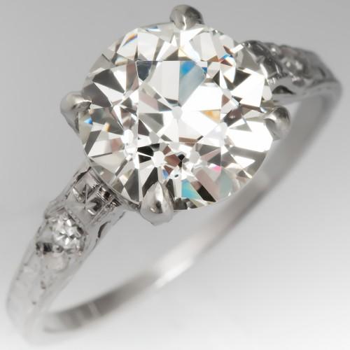 Ornate Antique Old European Cut Diamond Solitaire Engagement Ring Platinum