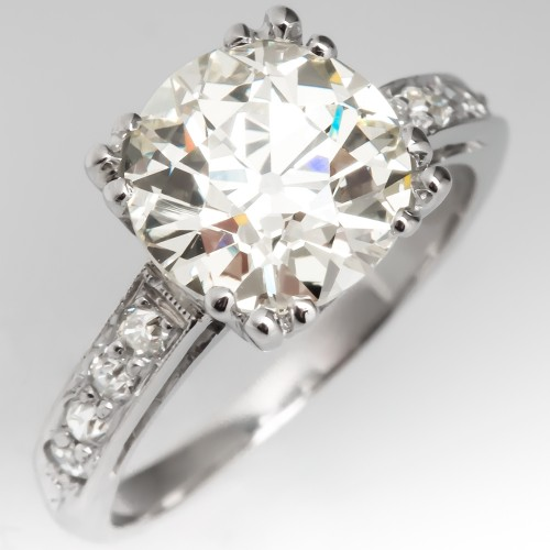 Magnificent Vintage Engagement Ring 2.77 Carat Old European Cut Diamond