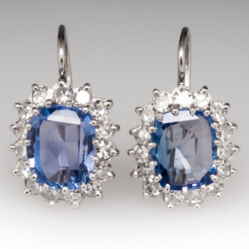 Vintage No Heat Light Blue Sapphire Diamond Halo Drop Earrings Platinum