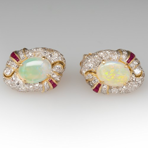 Vintage Shimmery Opal Ruby Diamond Earrings 18K
