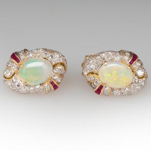 Vintage Shimmery Opal Ruby Diamond Earrings 18K