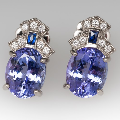 Tanzanite Stud Earrings Detailed Settings Medium Size