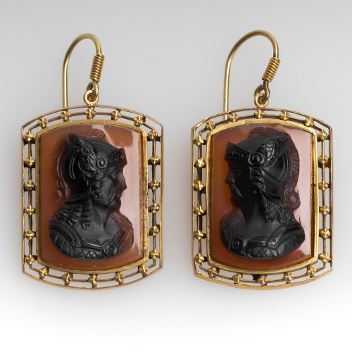Large Victorian Roman Soldier Cameo Dangle Earrings 10K Gold
