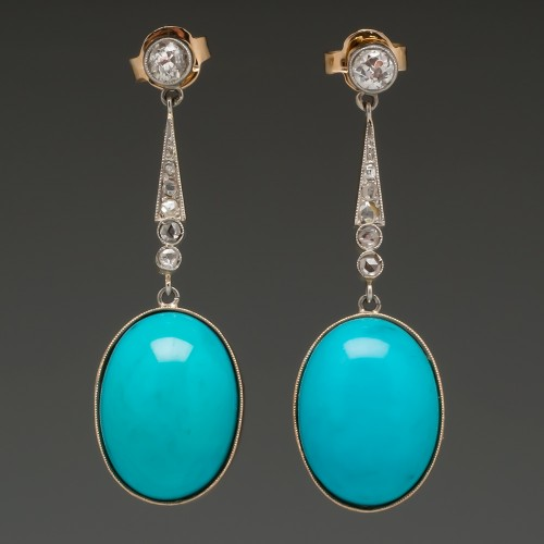 Victorian Turquoise & Rose Cut Diamond Drop Earrings Plat & 18K