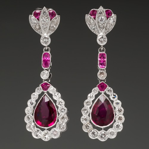Pink Tourmaline & Diamond Dangle Earrings 18K White Gold
