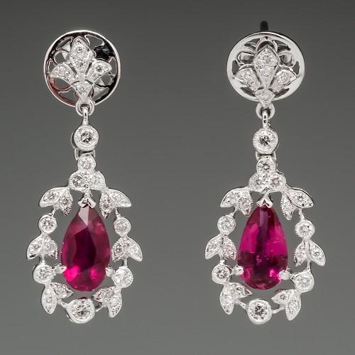 Pink Tourmaline & Diamond Floral Dangle Earrings 18K White Gold