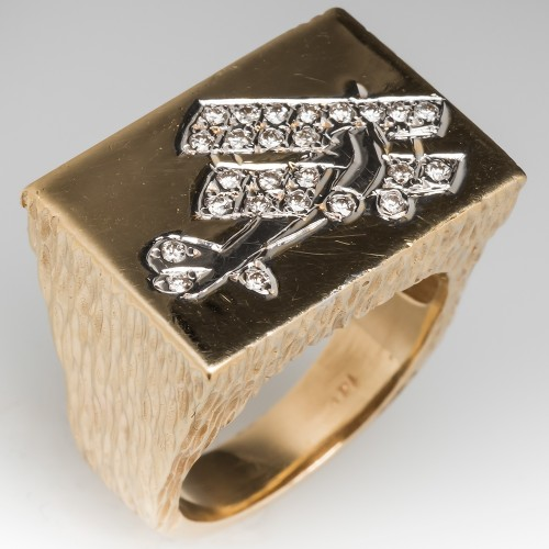 Vintage Mens Biplane Design Diamond Ring 14K Gold