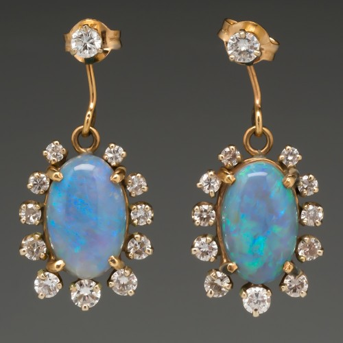 Antique Opal & Diamond Dangle Earrings 14K Gold