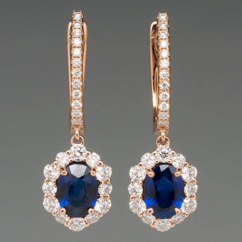 Vivid Blue Sapphire & Diamond Dangle Earrings 18K Rose Gold