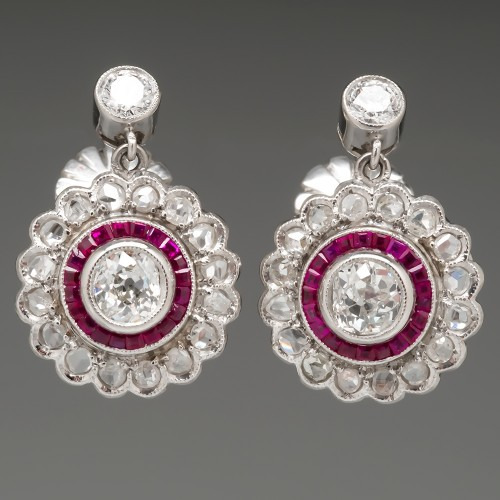 Ruby Diamond Halo Earrings Old Euro & Rose Cut Diamonds in Platinum