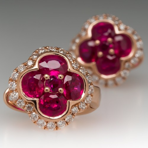 Beautiful Ruby & Diamond Drop Earrings 14K Rose Gold