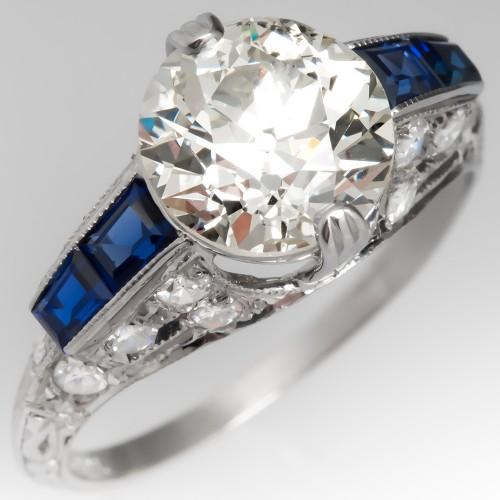 Art Deco Engagement Ring Old Euro Diamond w/ Sapphires in Platinum