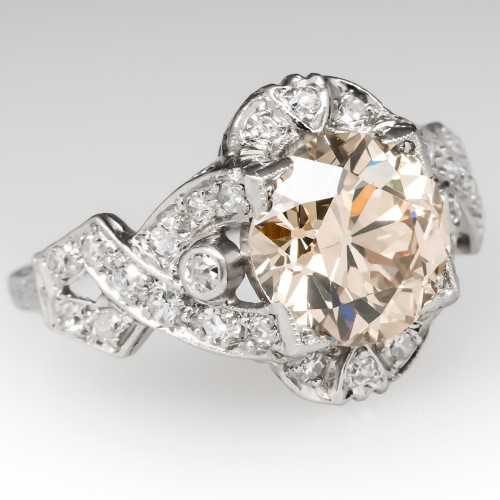 2.4 Carat Fancy Light Brown Old Euro Diamond Engagement Ring