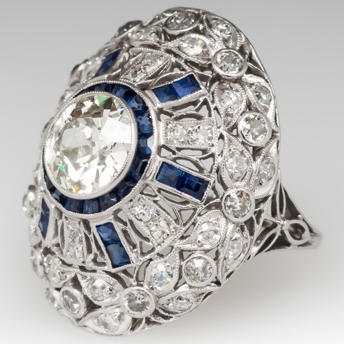 Art Deco Cocktail Ring 1.6 Carat Old Euro Diamond w/ Sapphires