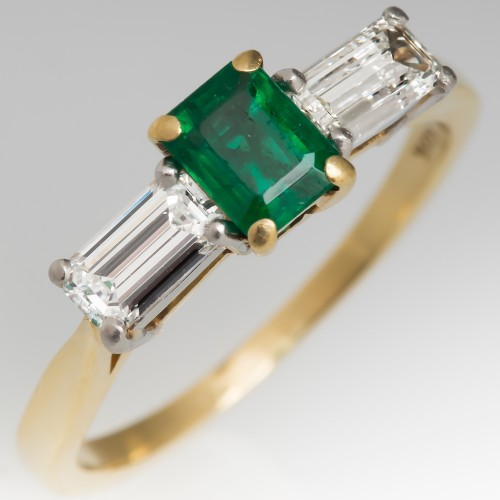 Vivid Green Emerald & Diamond Three Stone Engagement Ring 18K Gold