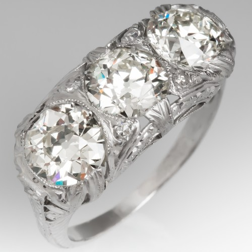 Victorian Three Stone Old Euro Diamond Ring Engraved Platinum