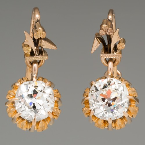 Victorian Old Mine Cut Diamond Drop Earrings 14K