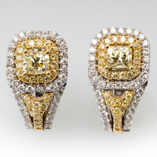 Natural Fancy Yellow Diamond Drop Earrings 18K
