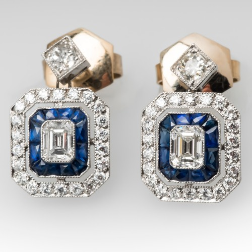Emerald Cut Diamonds & Sapphire Drop Earrings Platinum & 18K