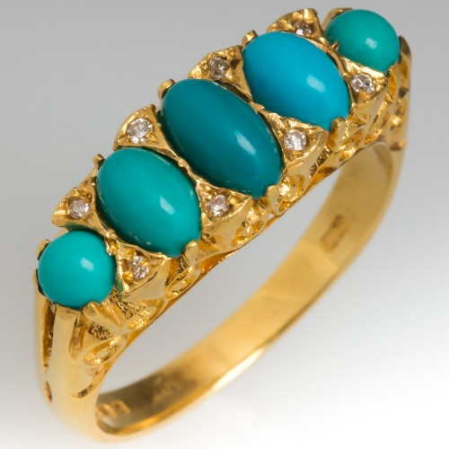 Vintage Turquoise & Single Cut Diamond Ring Detailed 18K Gold