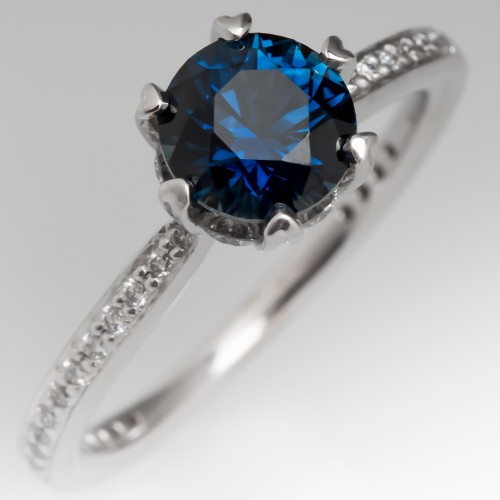 Ritani Engagement Ring No Heat Sapphire 14K White Gold