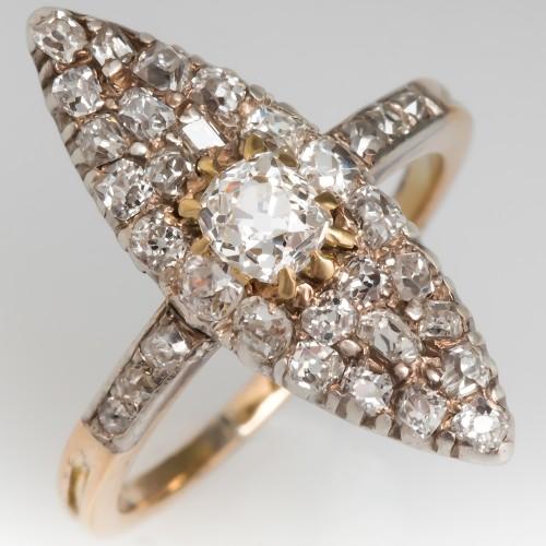 1880's Victorian Navette Old Miner Diamond Ring 14K Gold
