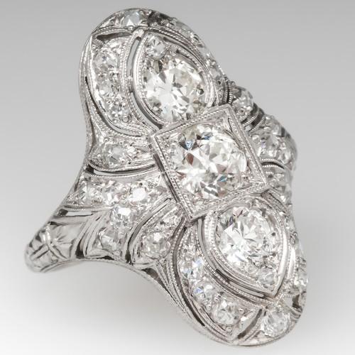 Antique Filigree Diamond Dinner Ring Platinum Engravings & Openwork