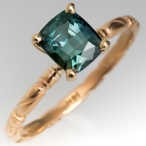 Cushion Cut Teal Sapphire Solitaire Ring 14K Gold Jabel Band
