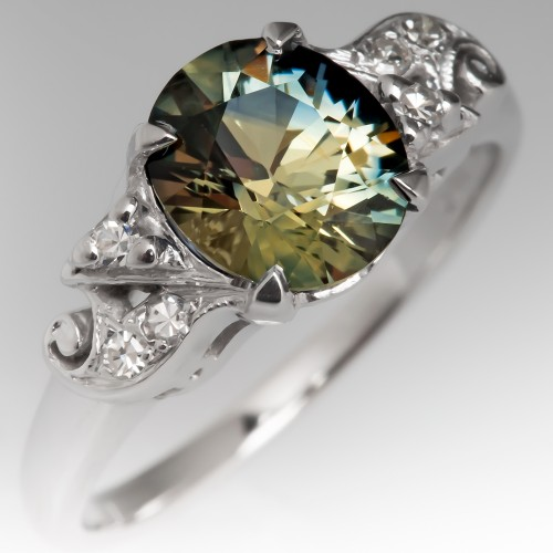 No Heat Vibrant Green Sapphire Engagement Ring 14K White Gold