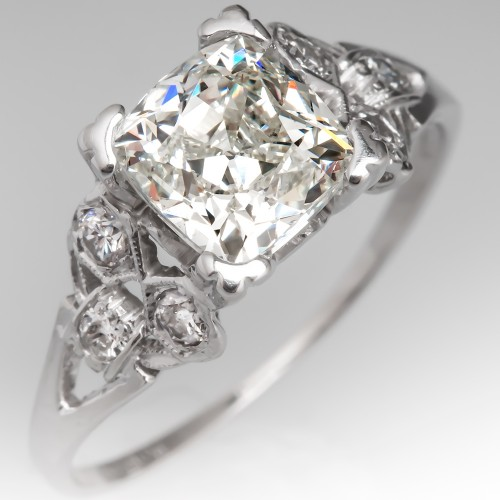 Antique Square Cut Diamond Engagement Ring Floral Platinum