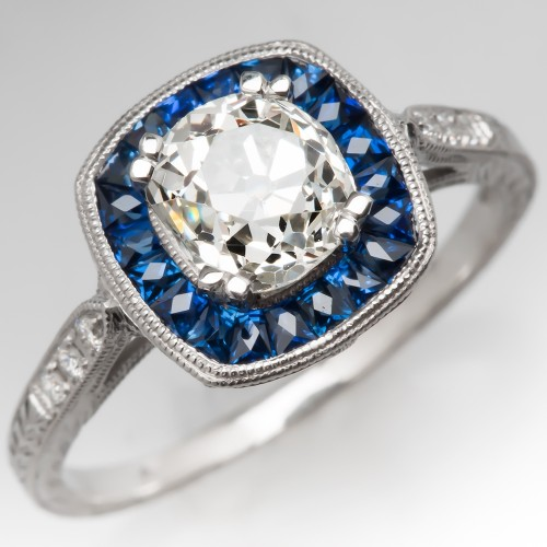 Sapphire Halo Engagement Ring Set w/ Old Mine Cut Heirloom Diamond