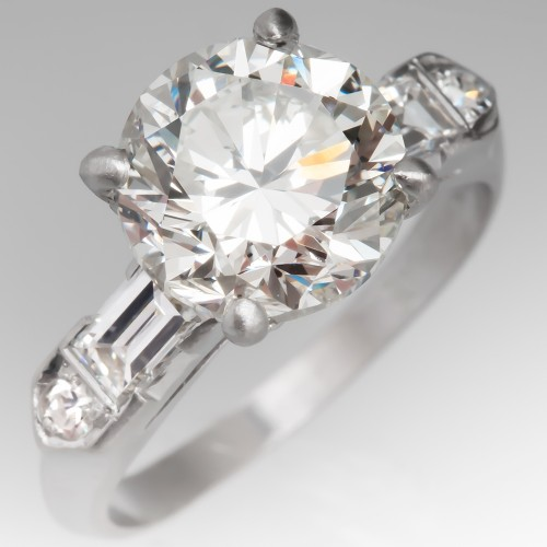 Beautiful 3 Carat Vintage Diamond Engagement Ring Platinum