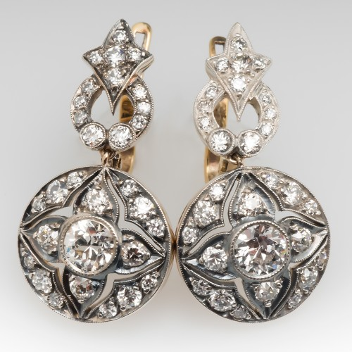 Victorian Dangle Earrings Old European Cut Diamonds & Engravings