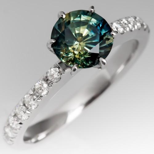 Stunning No Heat Blue-Green Sapphire Engagement Ring 18K