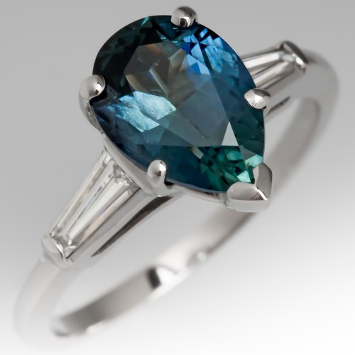 Pear Cut Blue Green Sapphire Engagement Ring Vintage Mount