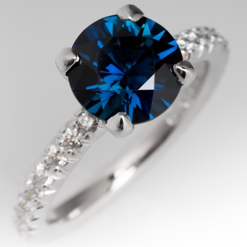 Vivid 2 Carat Blue-Green Sapphire Engagement Ring, Size 5.75