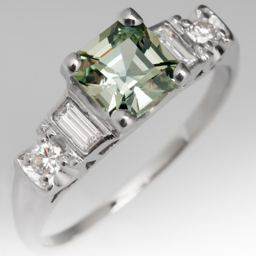Light Green Sapphire Engagement Ring Vintage Diamond Mounting