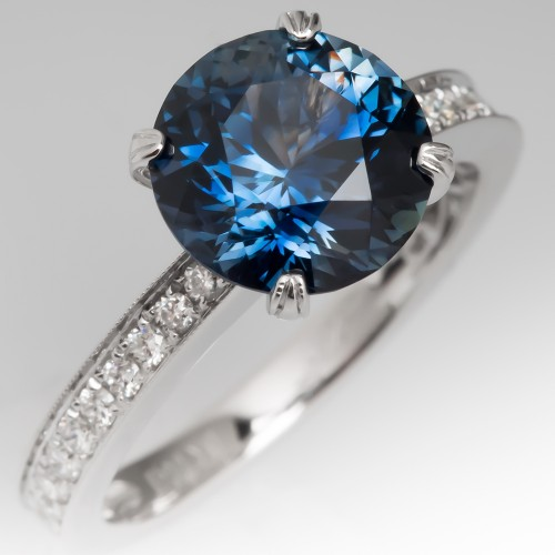 Magnificent 3.4 Carat No Heat Teal Sapphire Engagement Ring 18K