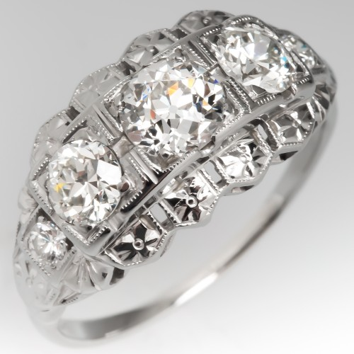 1930's Old European Cut Diamond Three Stone Ring 18K