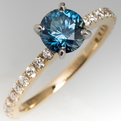 No Heat Vibrant Blue Green Sapphire Engagement Ring 14K Gold
