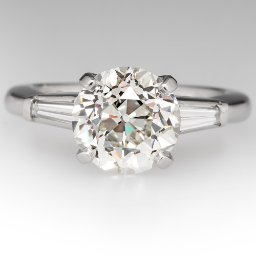 2.5 Carat Old Euro Diamond Engagement Ring Tapered Baguette Accents