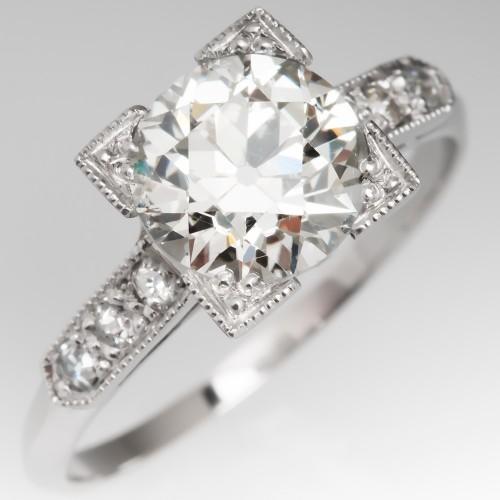 Art Deco Engagement Ring 1.8 Carat Old European Cut Diamond