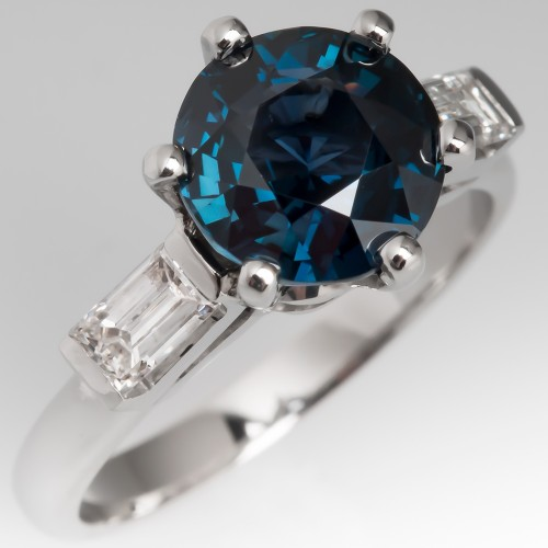 Vibrant 3 Carat Blue-Green Sapphire Engagement Ring Platinum